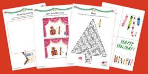 Crayons' Christmas activity sheets